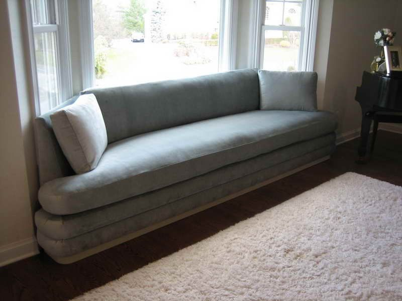 Minimalist Large Bay Window Couch With Grey Sofa And Hardwood Floor Also  Unique Coffee Table