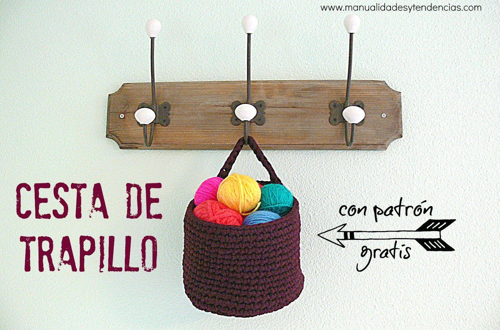 Crochet: cesta de #trapillo con patrón gratis www ...