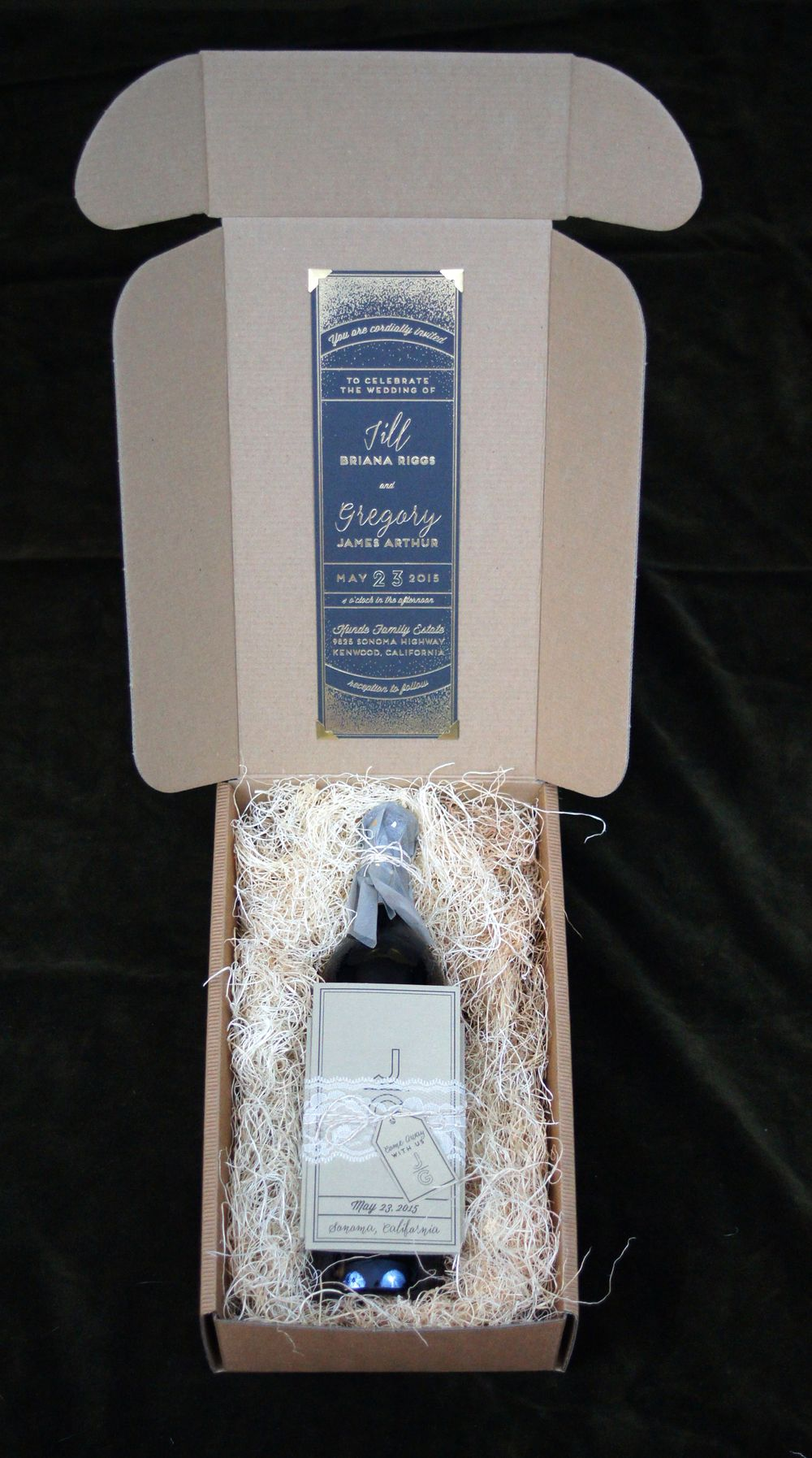 Wine Box Vineyard Wedding Invitation Set With Bottle Gold Foil And Lace Details