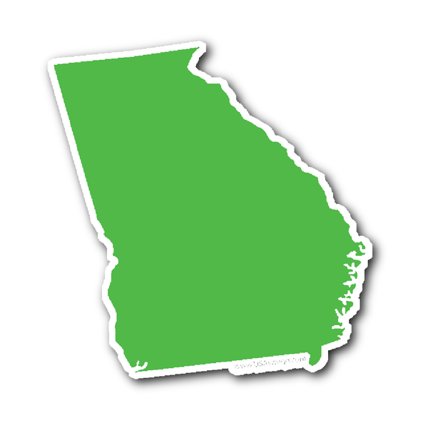 Georiga State Shape Sticker Outline Black State Shapes Shapes Lime Green
