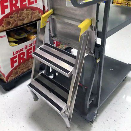 Stocking Cart Features Built In Step Ladder Ladder