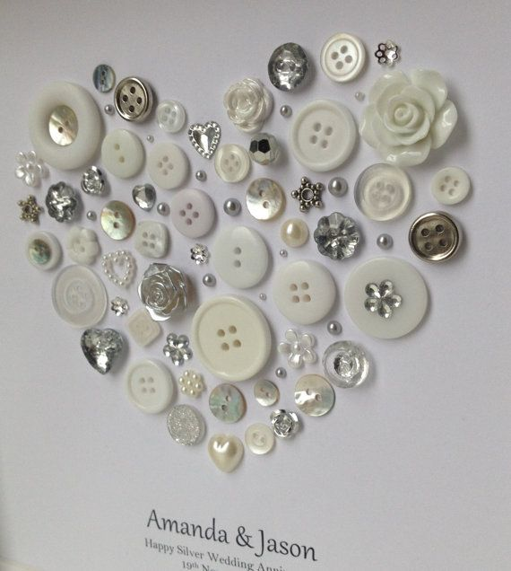 Personalised Silver Anniversary Gift 25th By Buttonartbysophie