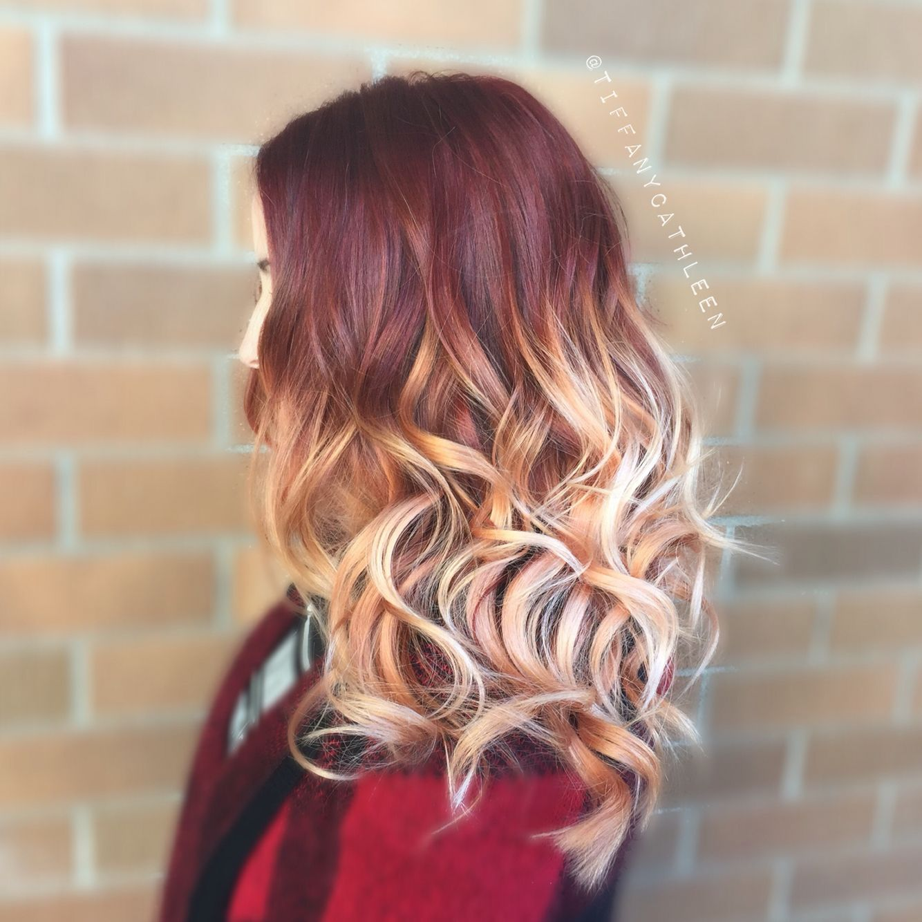 Burgundy Into Rose Gold Balayage Ombre I Love This Hair Color Burgundy Hair Ombre Hair Ombre Hair Blonde