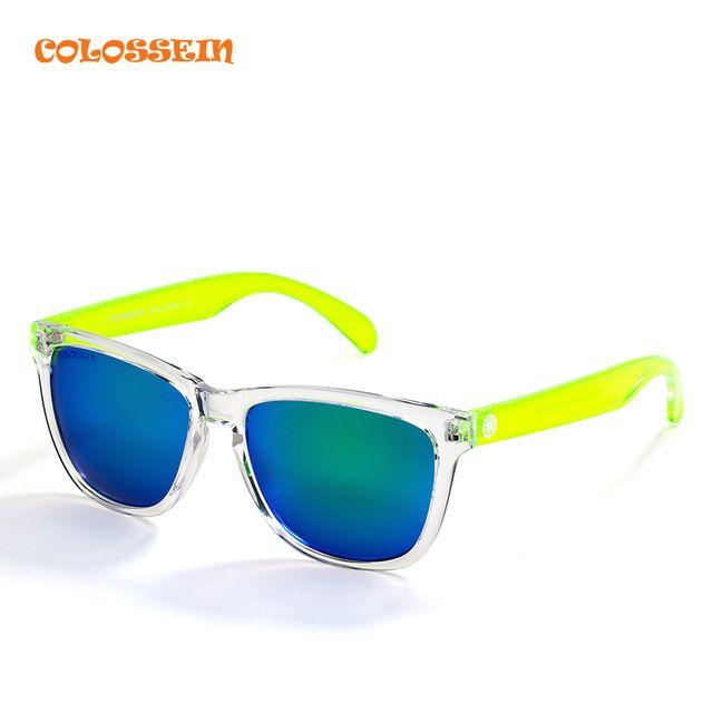 COLOSSEIN BLUE Бренды В Высоком Качестве Солнцезащитные Очки Для Женщины На  Пляже Пластиковые Красочные Очки В 2b2ba6f1032