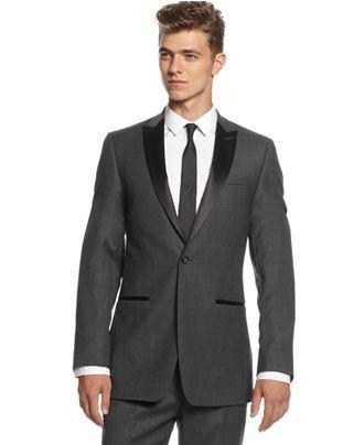 Calvin Klein Suit, Grey Solid Tuxedo Slim Fit