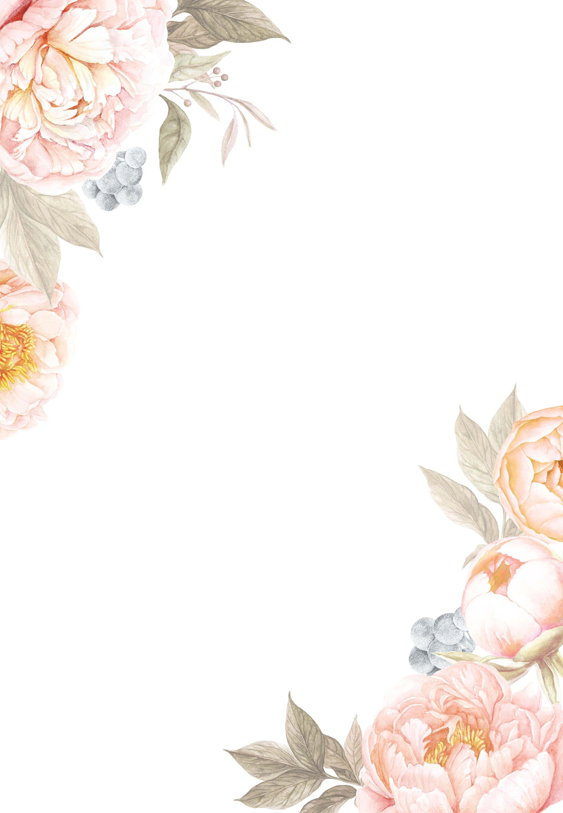 Peach Flowers Wedding Invitation Template (free in 2020