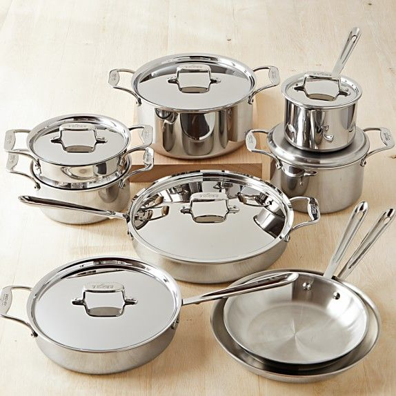 All Clad D5 Stainless Steel 15 Piece Cookware Set Stainless