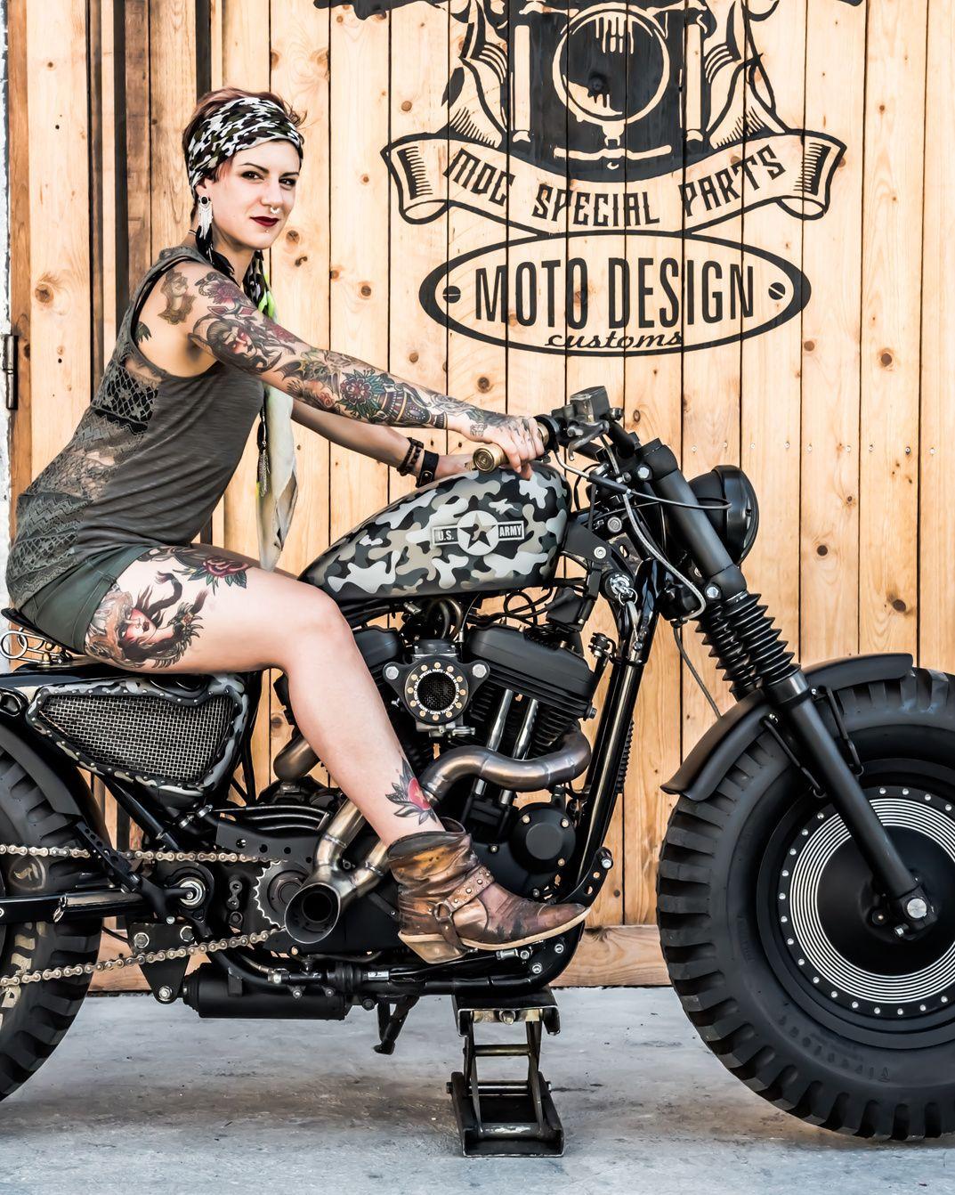 La Tankster Su Base Harley Davidson Sportster 883 Pare Essere Scappata Dalla Pellicola Harley Davidson Ragazze In Motocicletta Motociclette Harley Davidson
