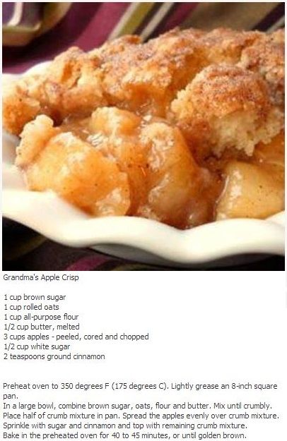 Apple Crisp Delicious Food Pinterest Desserts Apple Crisp