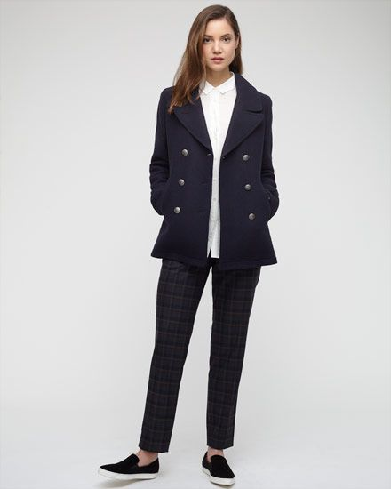 Timeless double-breasted pea coat flawlessly crafted in a wool ...