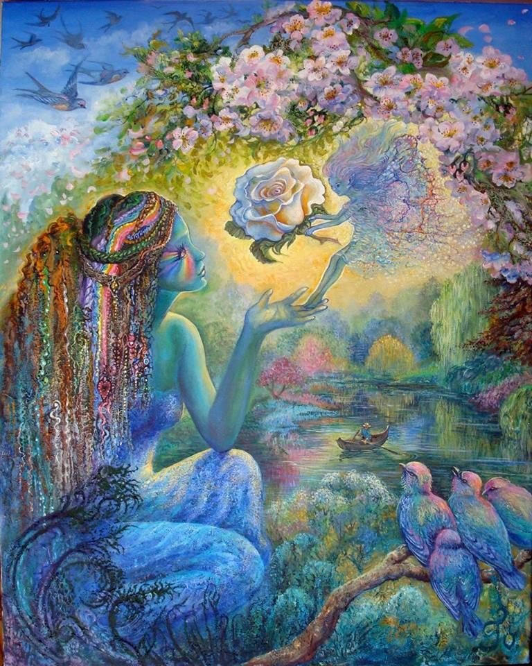 """""""The Messenger"""" - my latest painting which is very nearly finished! The 'message' in this picture is the white rose, which means """"I am worthy of you.""""  Josephine Wall"""