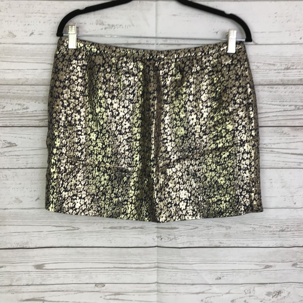 db3a9230ac J. Crew womens skirt 8 metallic gold silk skirt lined floral short #fashion  #clothing #shoes #accessories #womensclothing #skirts (ebay link)