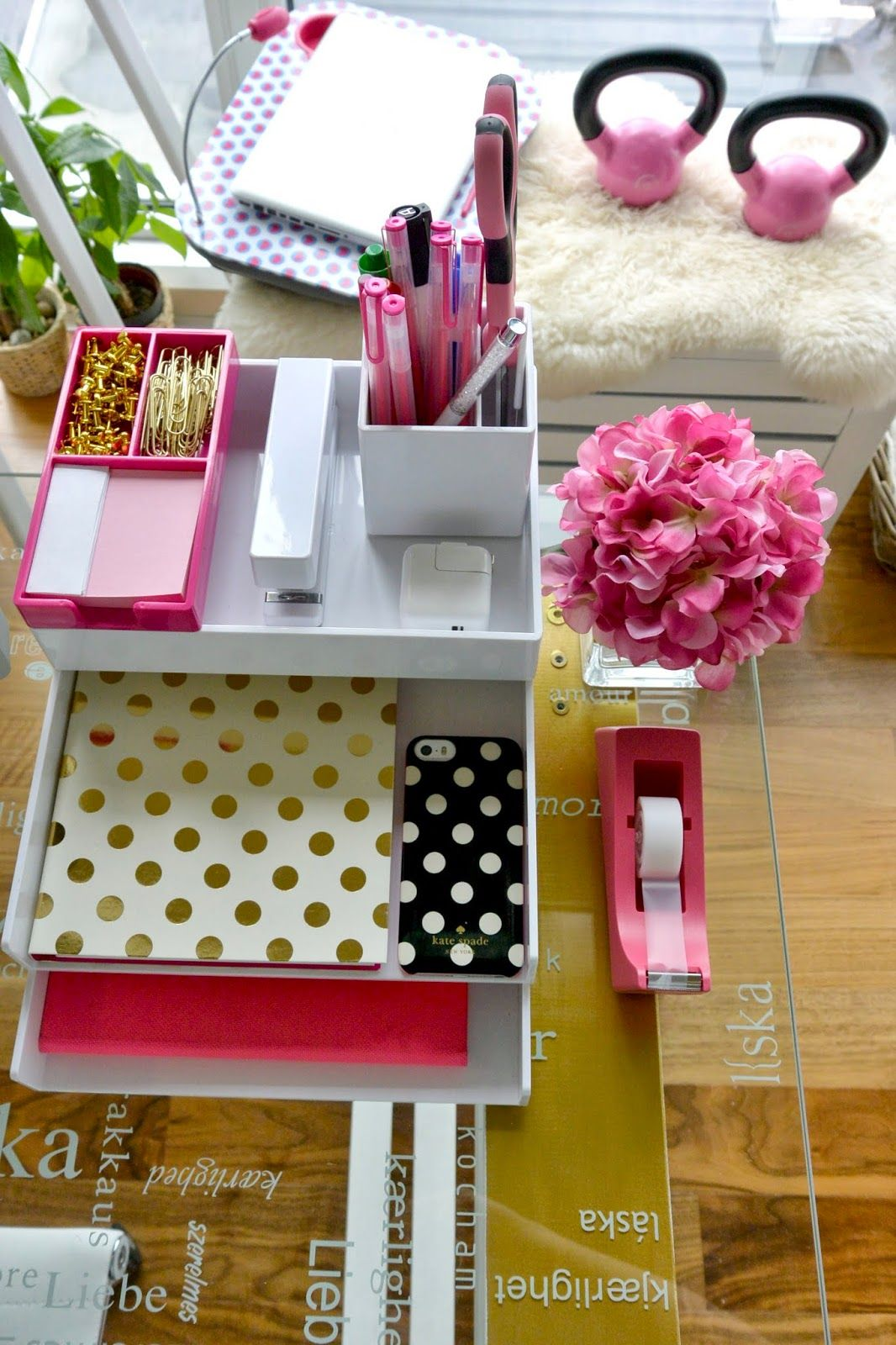 Office Organization Poppin Desk Pink And White Kate Spade Accessories
