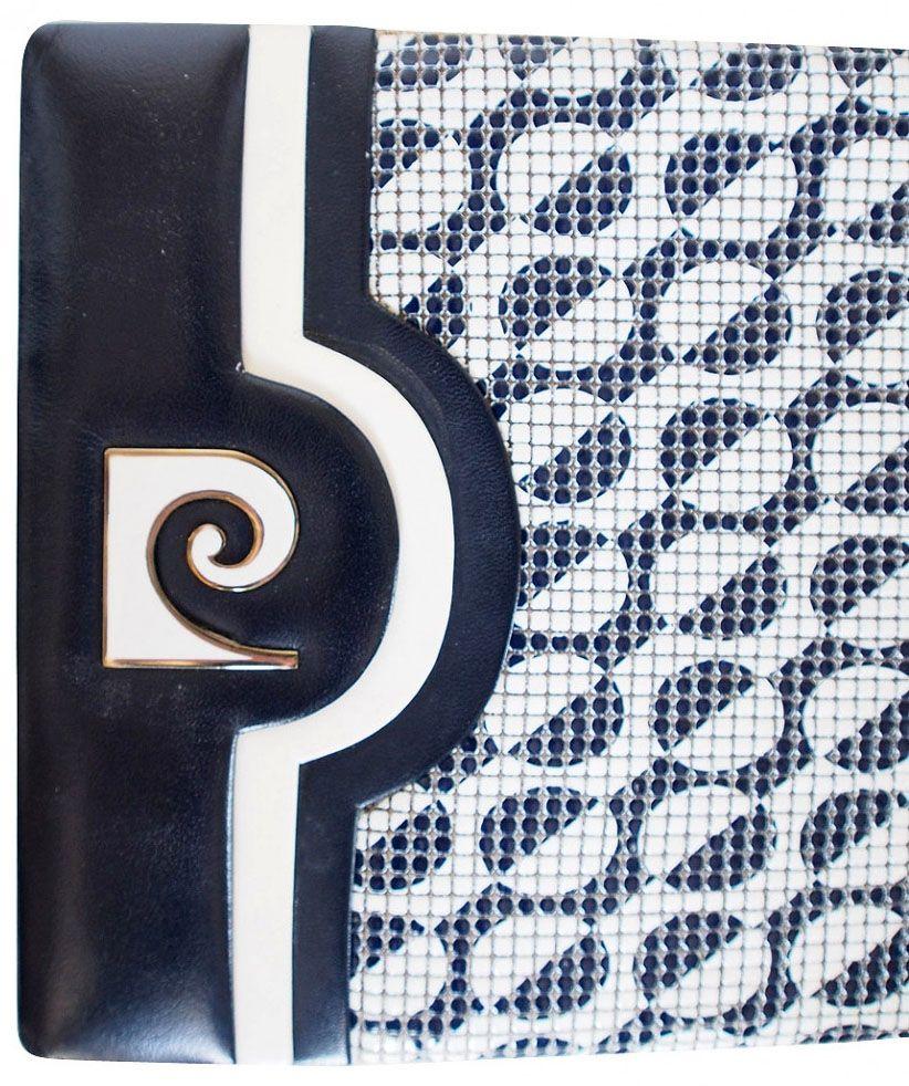 Pierre Cardin - Pochette 'Logo' - Toile et Métal Doré Emaillé Blanc - Années 60