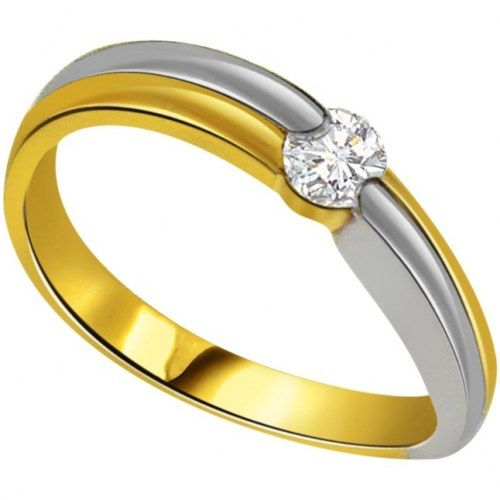 0.08 cts Two Tone 18K Diamond Solitaire Ring