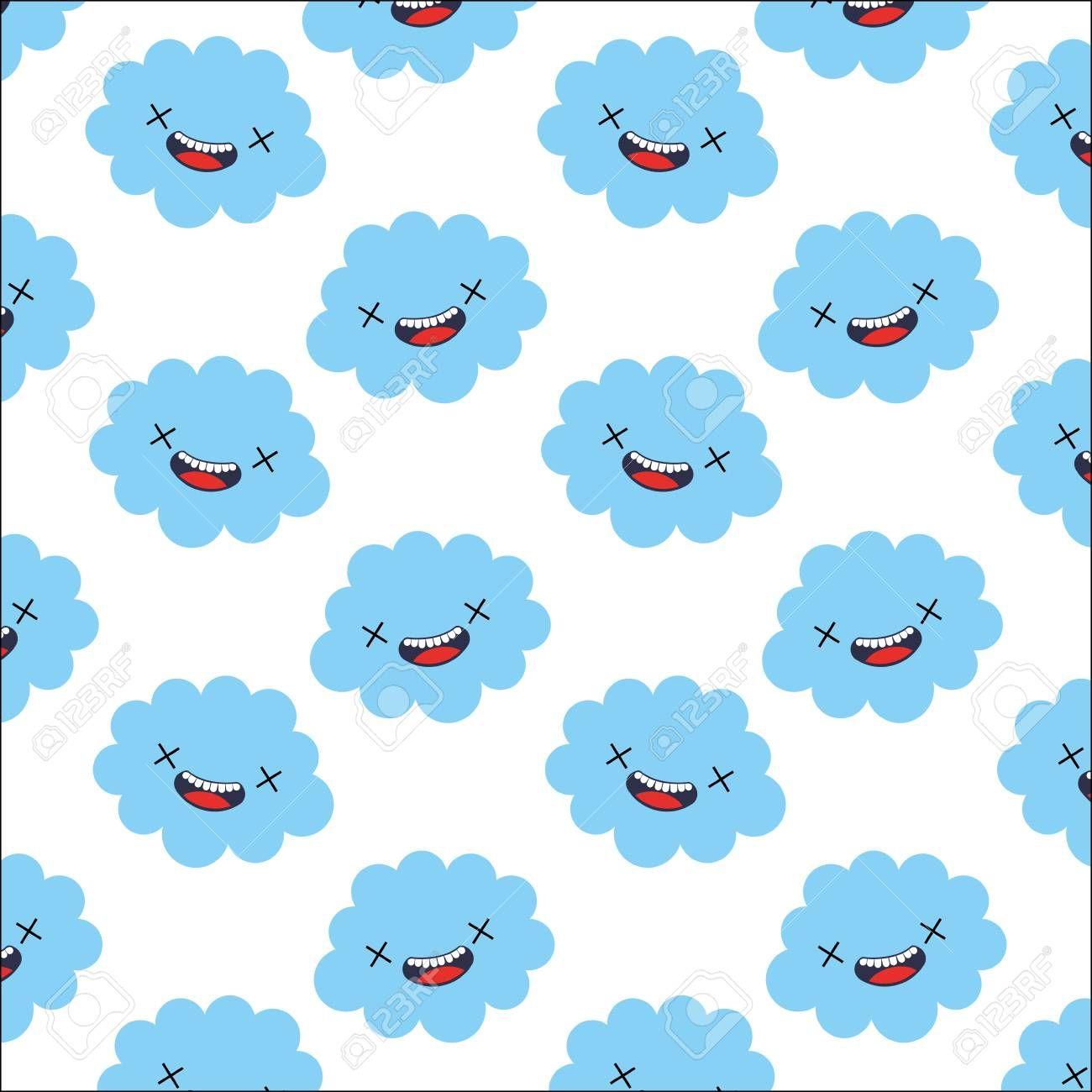 cute cloud kawaii pattern vector illustration design Illustration ,
