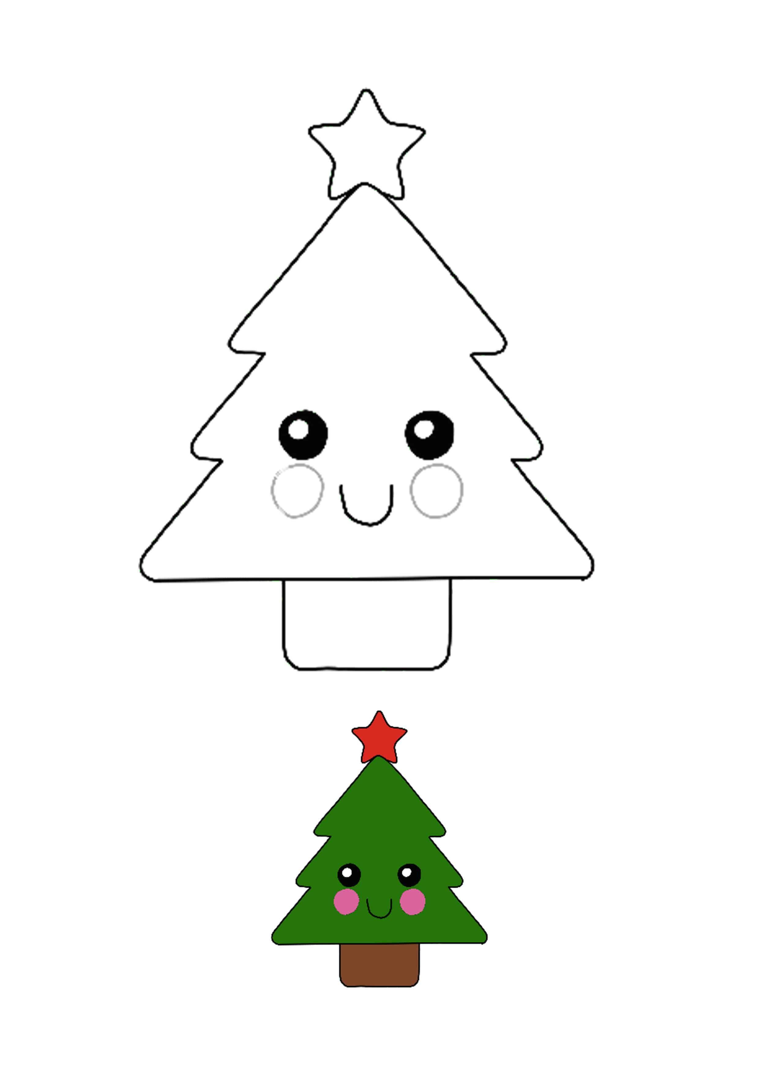Kawaii Christmas Tree Coloring Page For Kids Christmas Tree Coloring Page Free Printable Coloring Sheets Christmas Coloring Pages