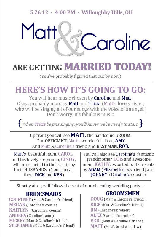This Is A Cute Idea For Ceremony Program Maybe Someone Out There Getting Married