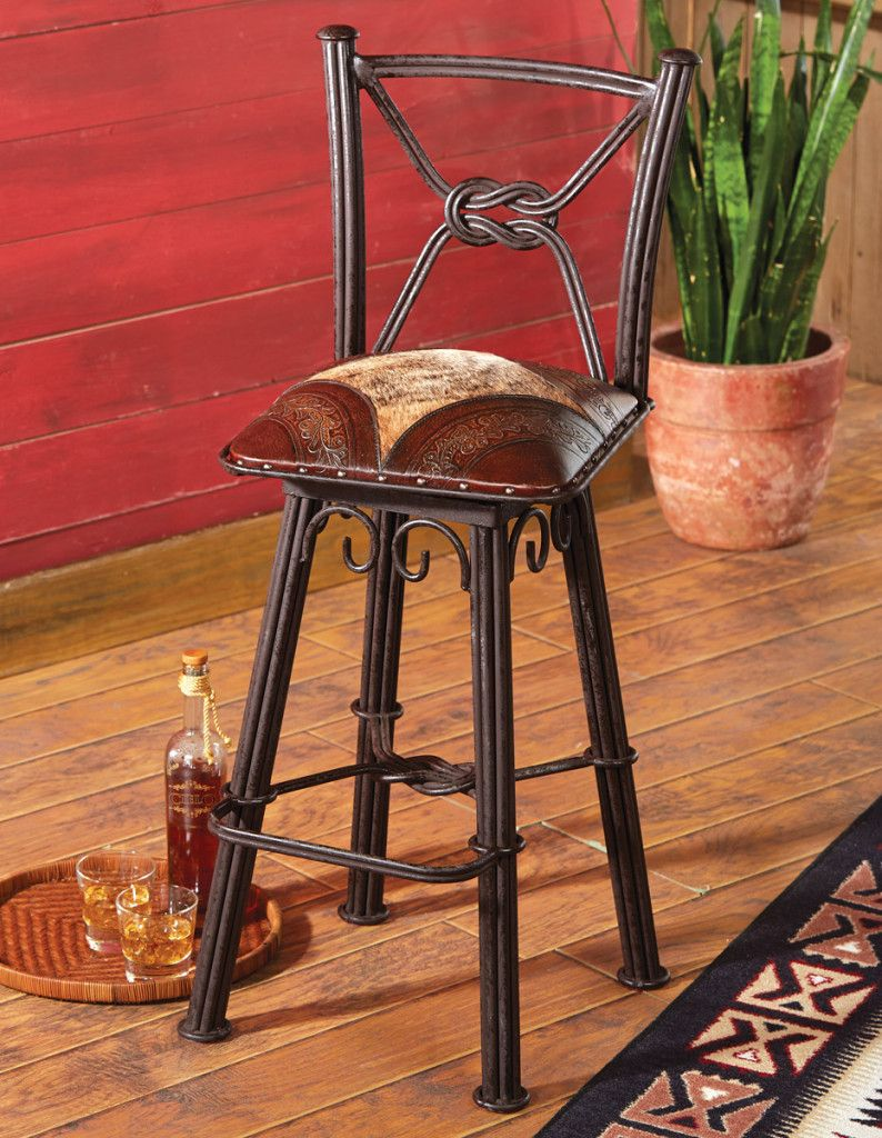 Coronado Barstool From Lone Star Western Decor Cowhide Decor Wrought Iron Bar Stools Western Furniture