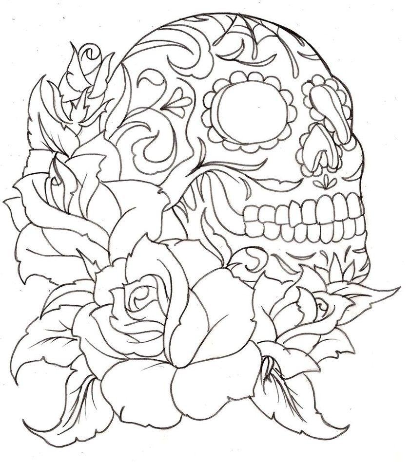 Coloriage d 39 une t te de mort et de roses a vos crayons - Coloriage d une rose ...