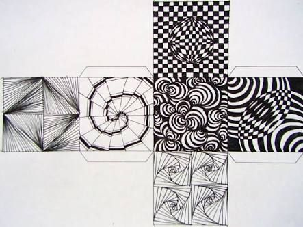 Image Result For Op Art Cube Template  Para Aulas