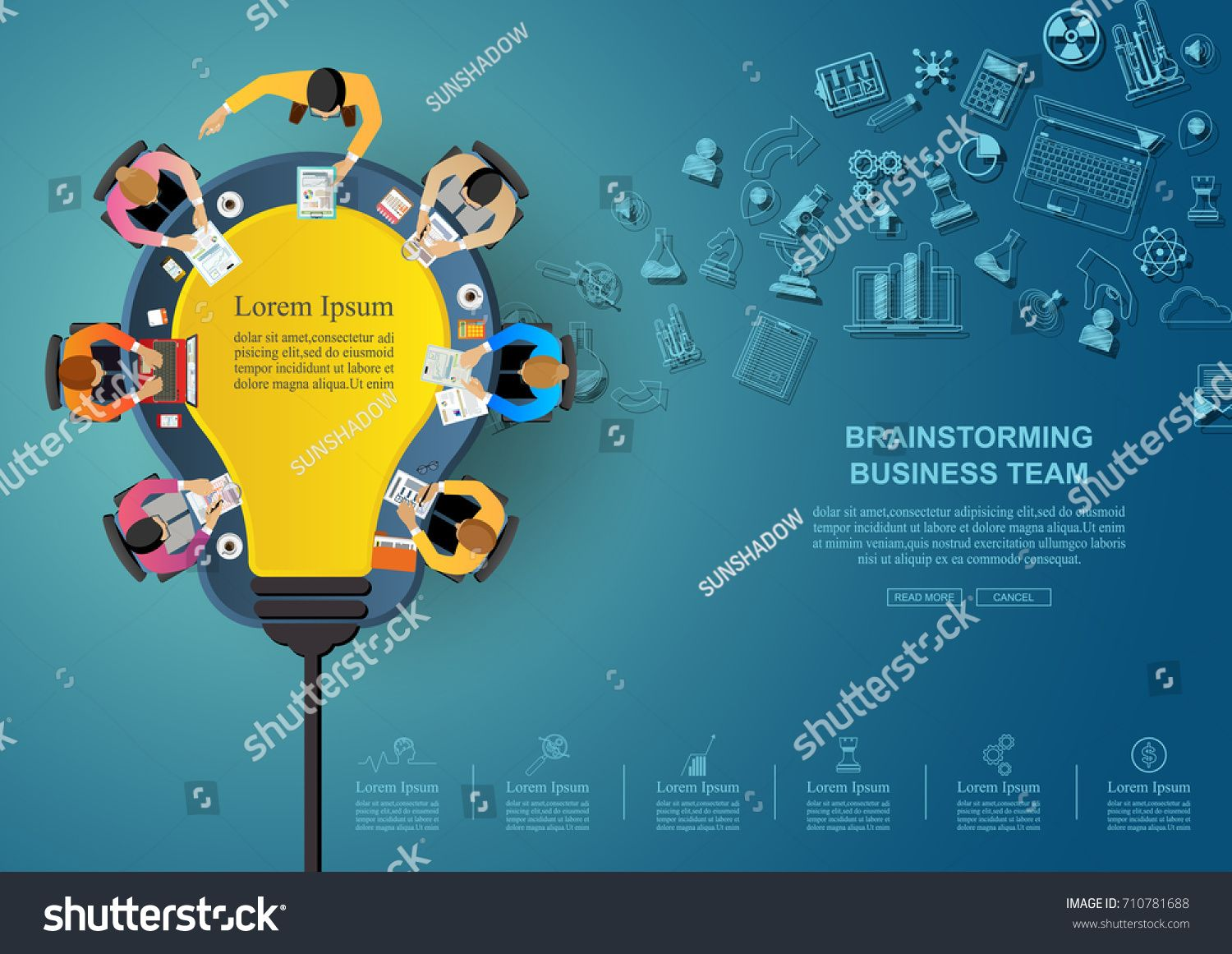 Business Meeting And Brainstorming Idea Concept For Vector Infographic With Light Bulb Template Creative Diagram Teamwork Illustration People Team Icon