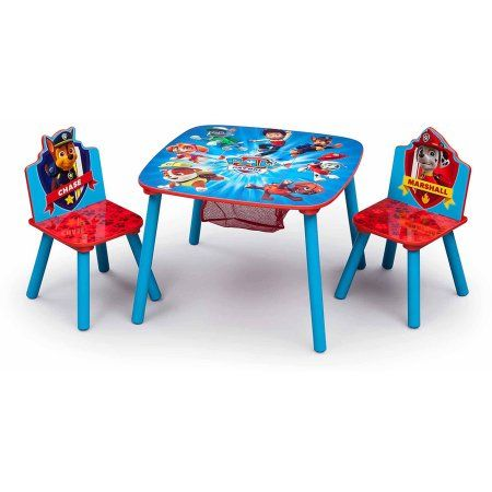Nick Jr Paw Patrol Wood Kids Storage Table And Chairs Set