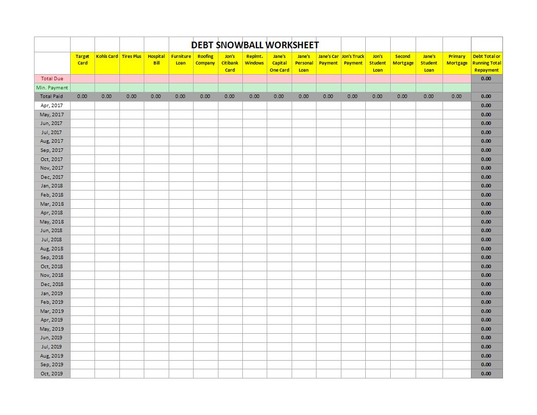 Debt Snowball Xlsx Worksheet Excel