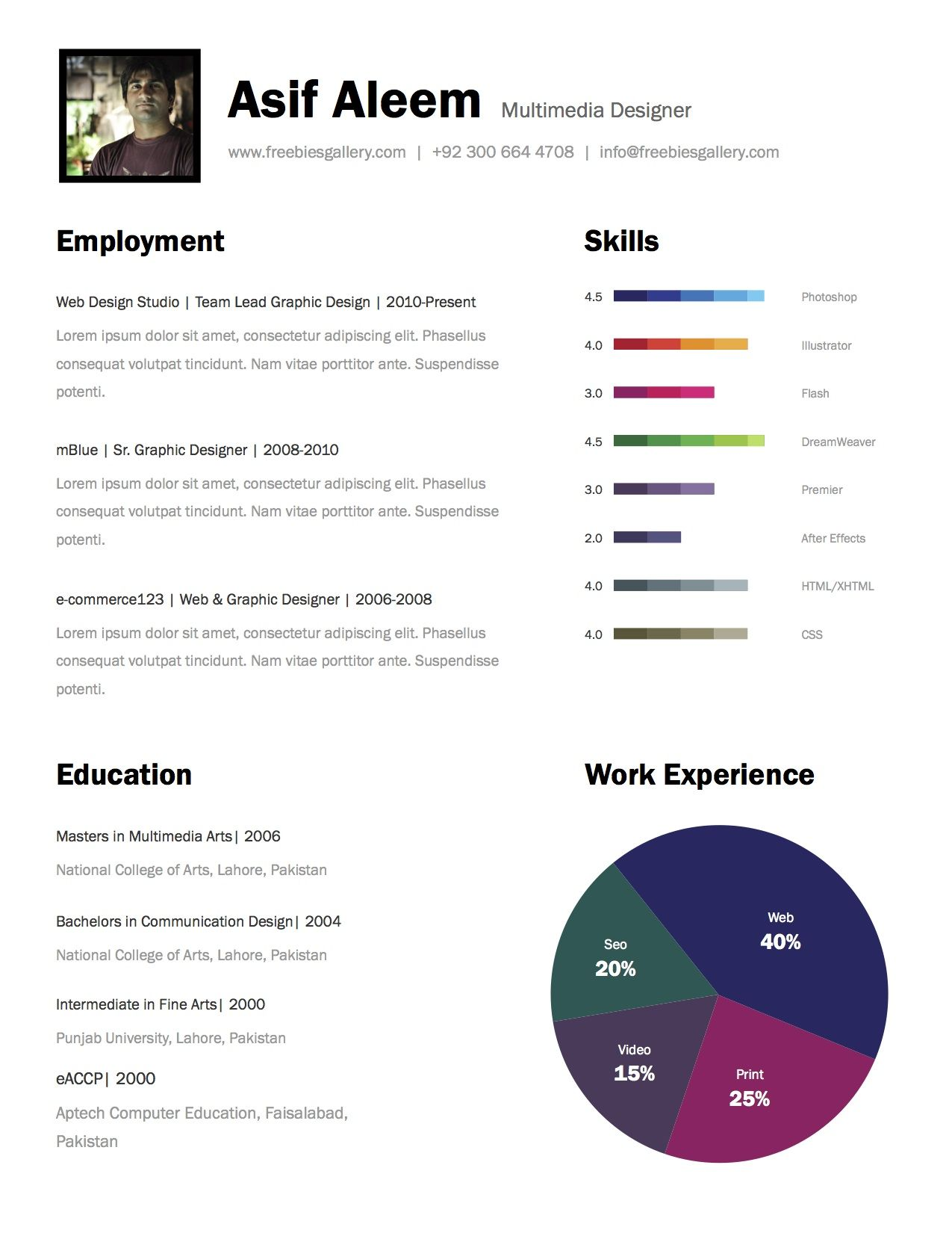 Simple Free Resume Template Cv Multimedia Designer  Hire Me  Pinterest  Design Resume And