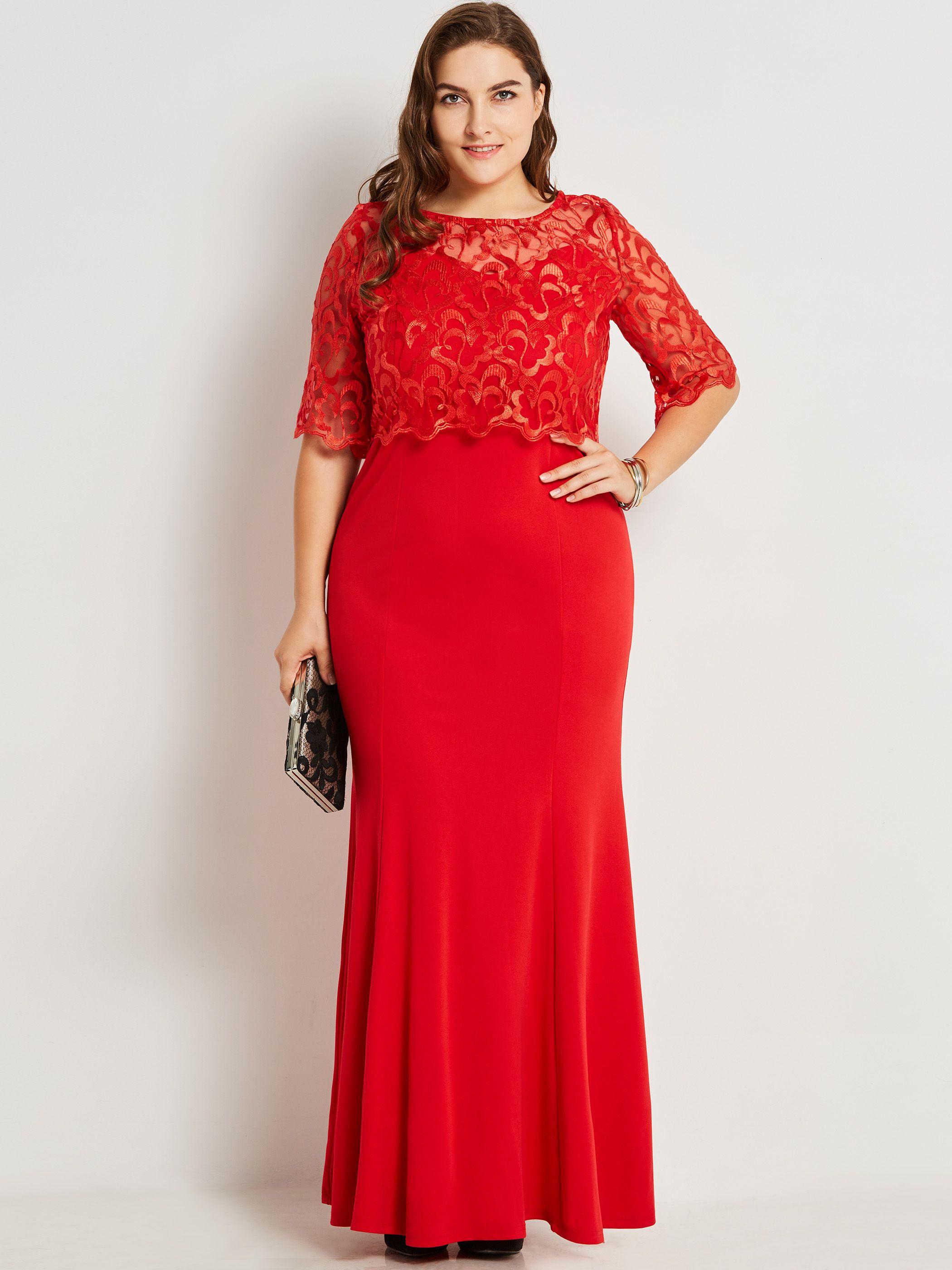 Red dress Vestidos, Looks plus size, Moda evangelica
