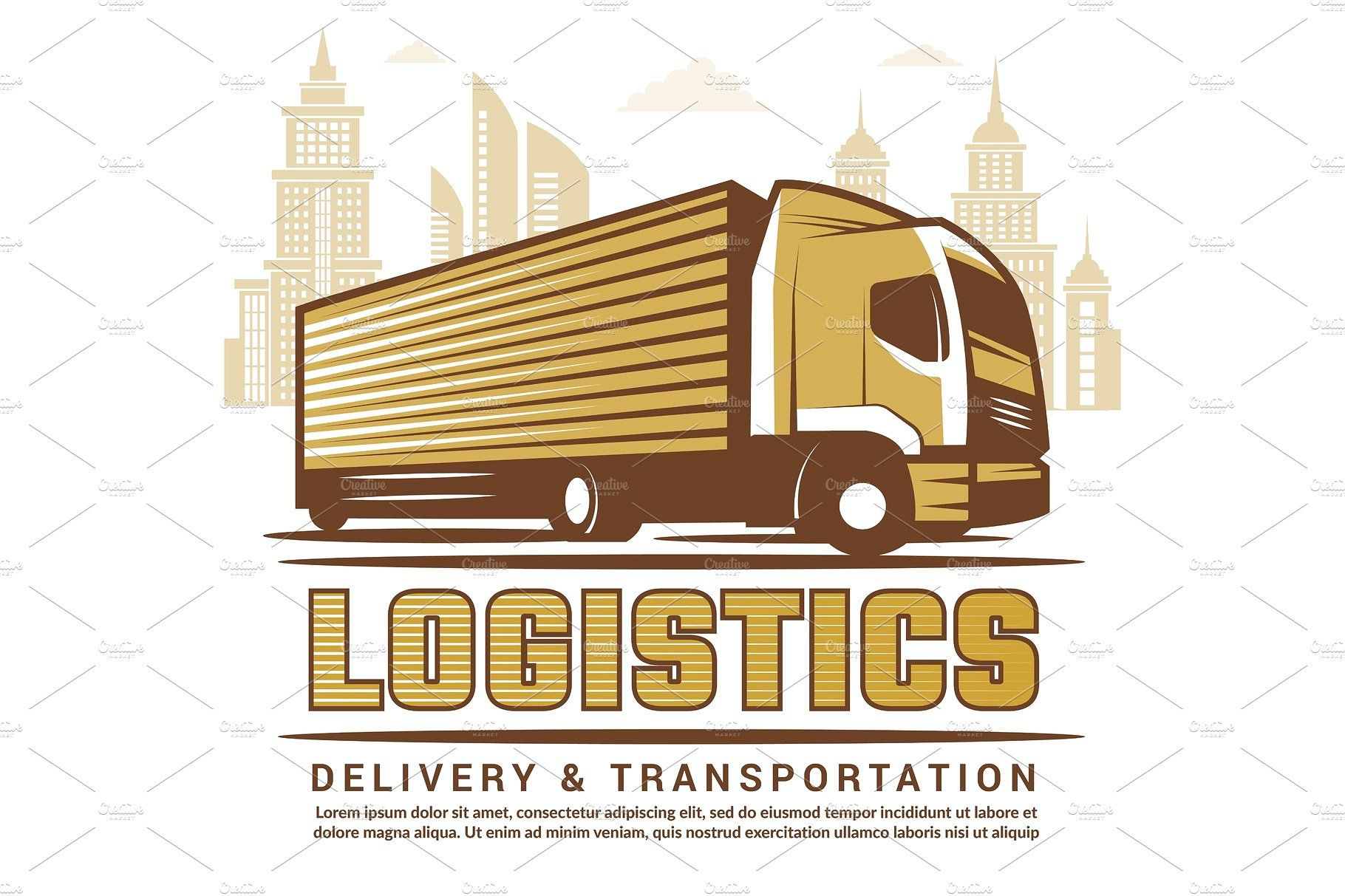 Logistics background. Vector stylizedillustrationtruck