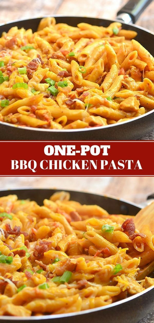 One-Pot Barbecue Chicken Pasta One-Pot Barbecue Chicken Pasta loaded with bacon, chicken, cheese, and BBQ flavors cooked in one pot! Easy, cheesy, and tasty, it's the perfect weeknight meal!