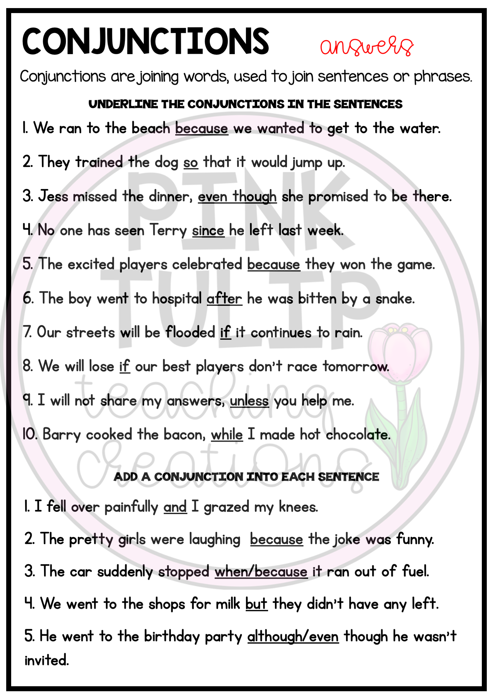 Understanding Conjunctions Worksheets