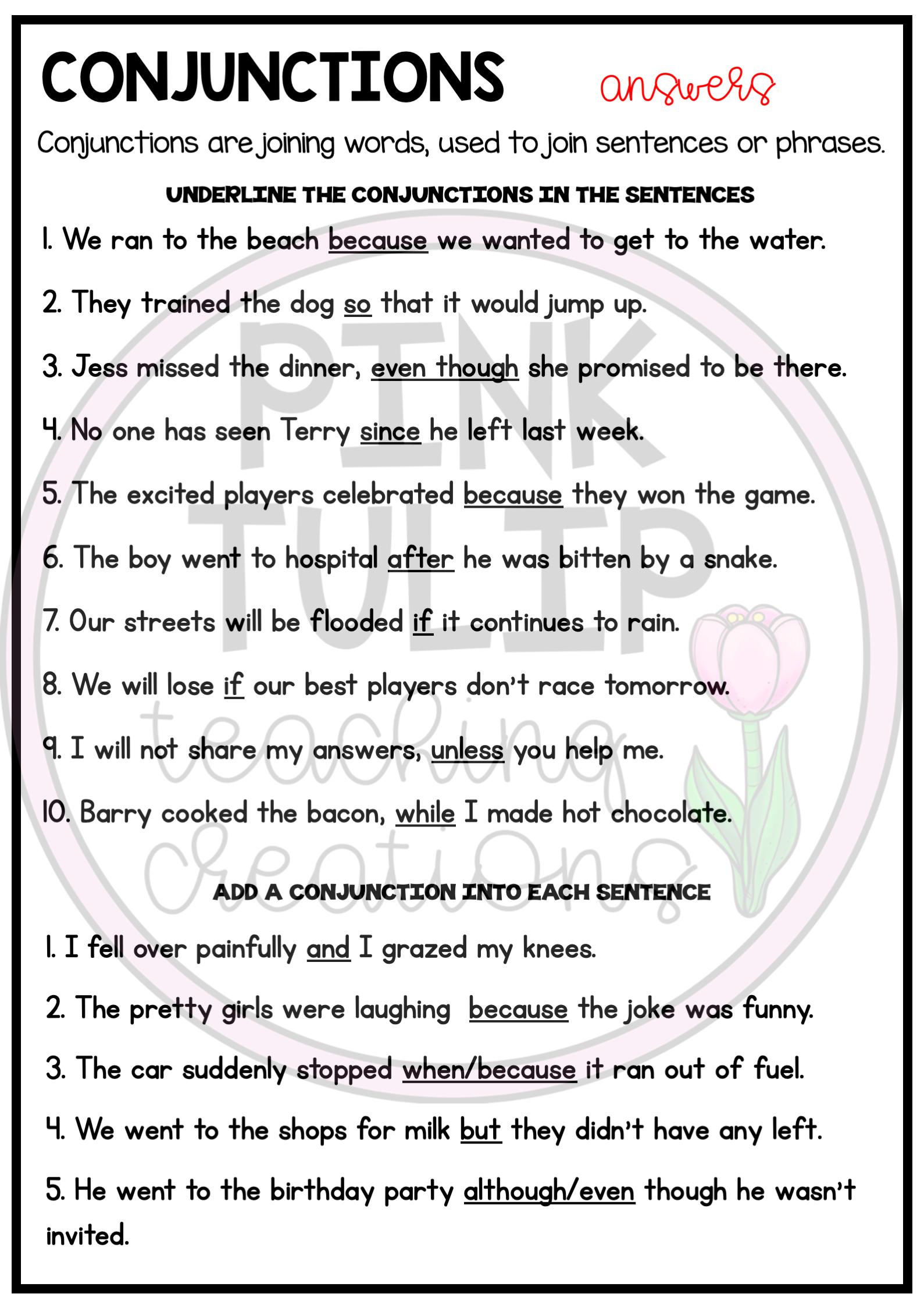 Understanding Conjunctions Worksheets