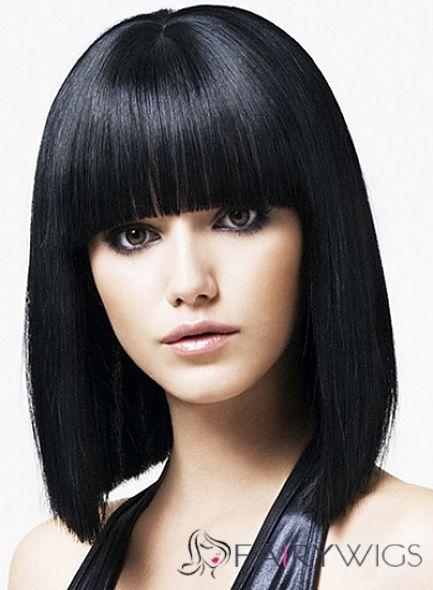 Fabulous Medium Straight Black Synthetic Hair Wigs Medium Hair