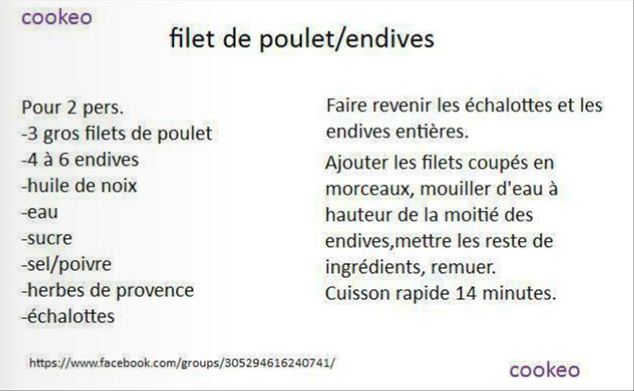 Filet De Poulet Endives Cookeo Recettes Cookeo Pinterest