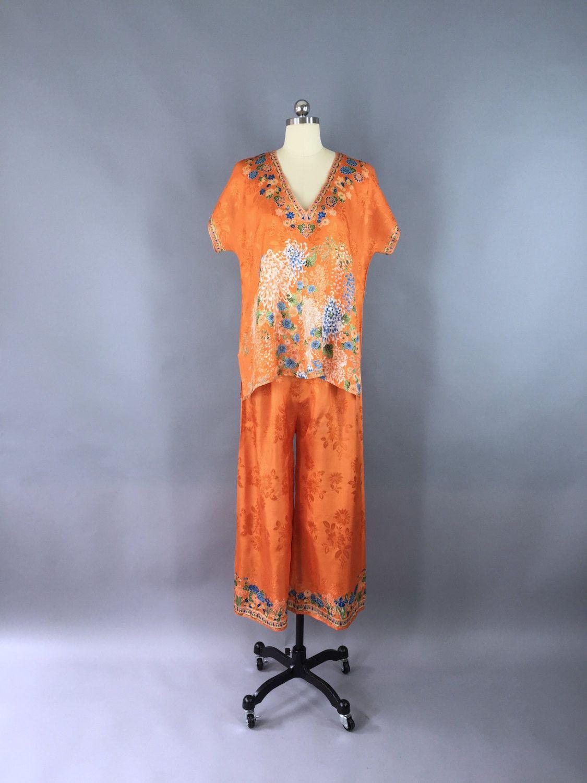 Vintage 1920s Silk Pajamas Pjs Loungewear   Flapper 20s Lingerie Boudoir    Chinoiserie Chinese Asian 49d94795e