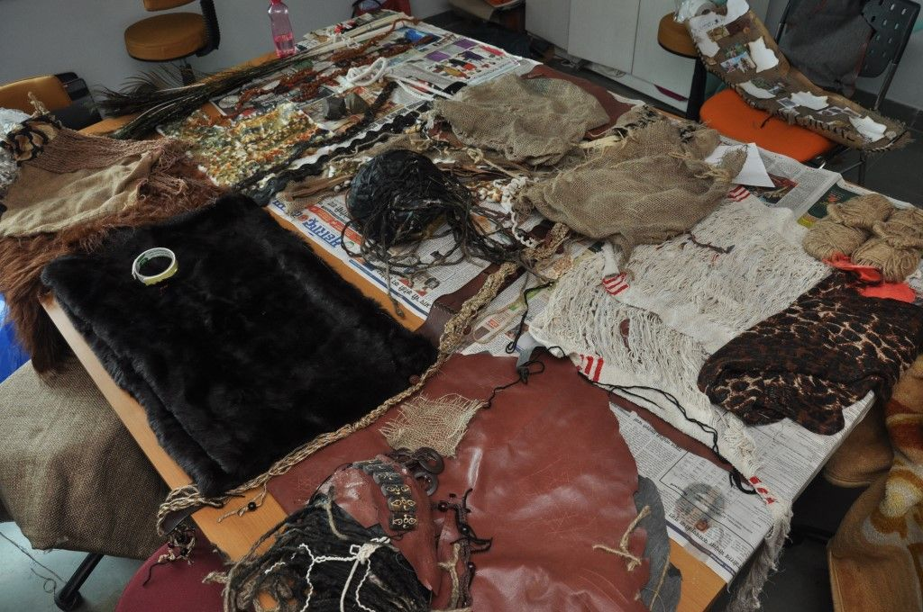 Materials used to re-create garments from the pre-historic era.