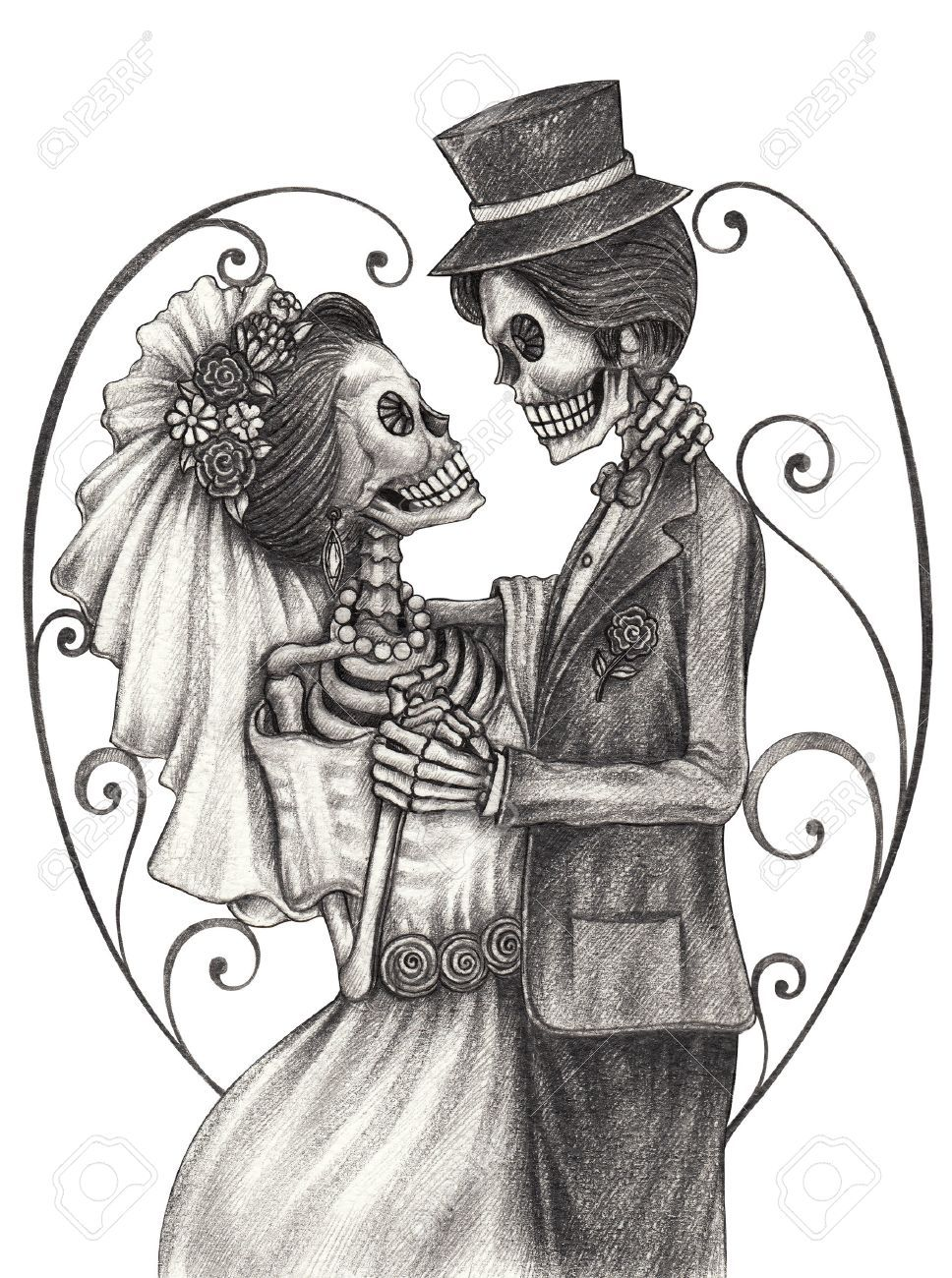 bf2d30699 Skull art wedding day of the dead festival. Hand pencil drawing on paper. #