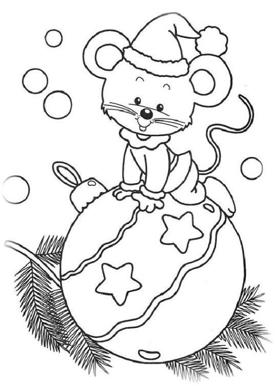Ausmalbilder für Kinder Neujahr und Weihnachten 8