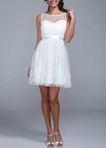 Short Mesh Wedding Dress With Illusion Sweetheart Bodice