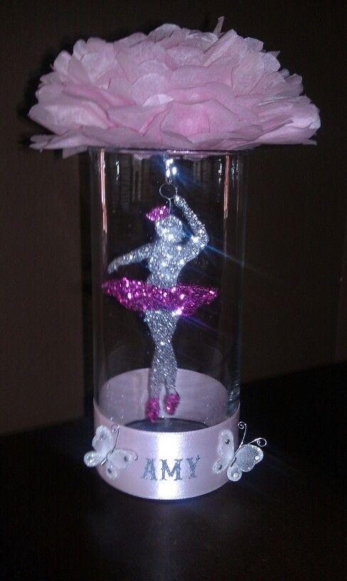 centerpiece for ballerina babyshower theme hand made ballerina