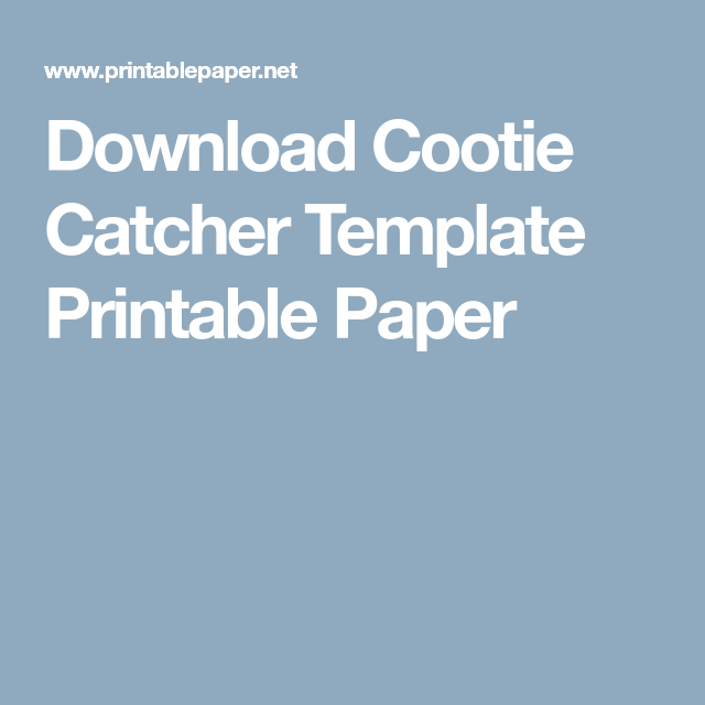 Download Cootie Catcher Template Printable Paper  School