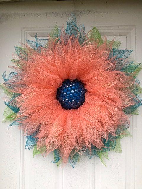Wreath Deco Mesh Sunflower Wreath W Beaded By