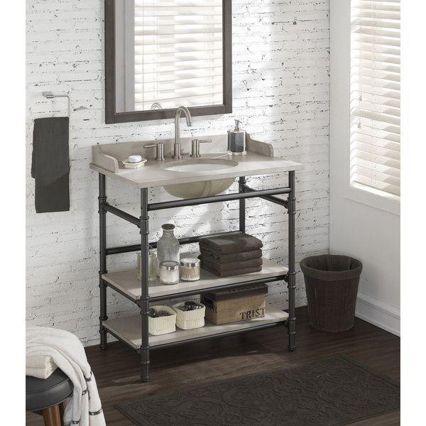36 Inch Industrial Open Shelf Vanity With Backsplash Industrial