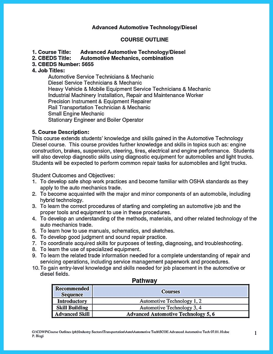 Auto Tech Resume Alluring To Write A Solid Automotive Resume Requires You Some Criteria .