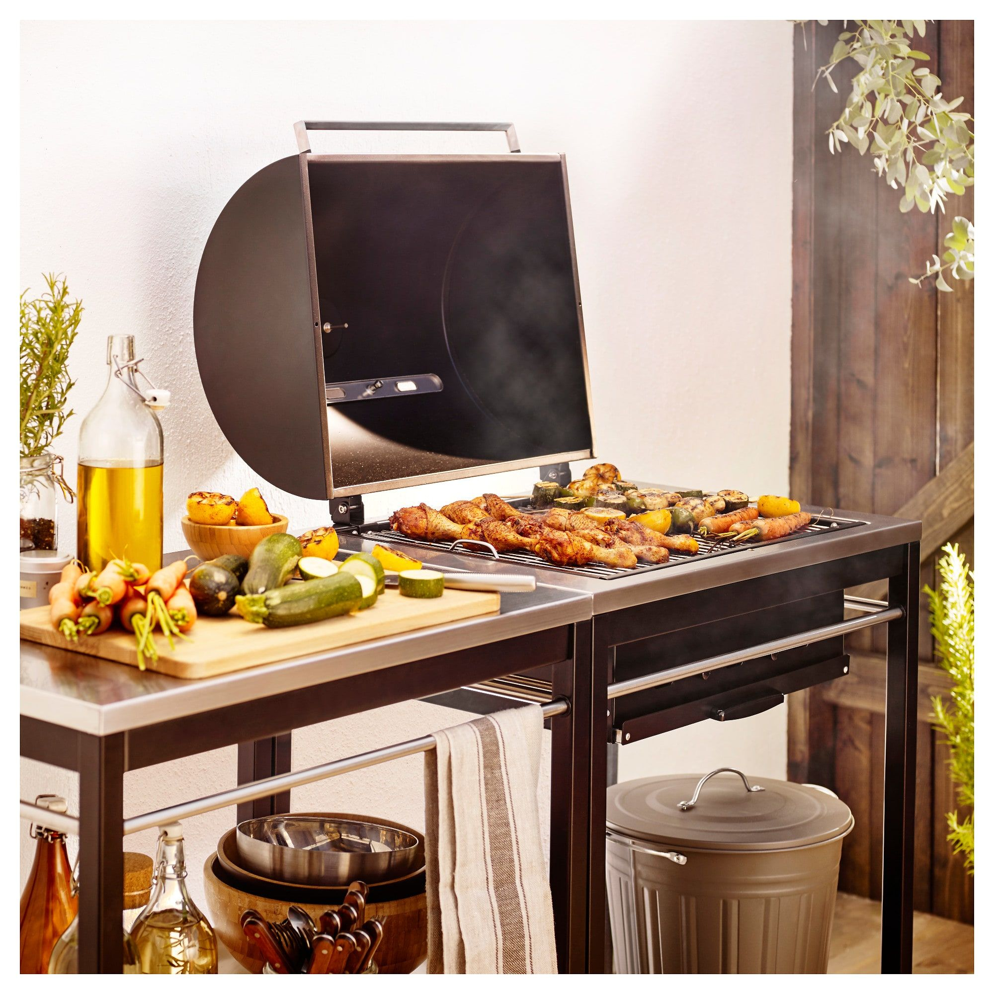 klasen charcoal barbecue with cart stainless steel in 2019 charcoal grill ikea ikea outdoor on outdoor kitchen on wheels id=62082