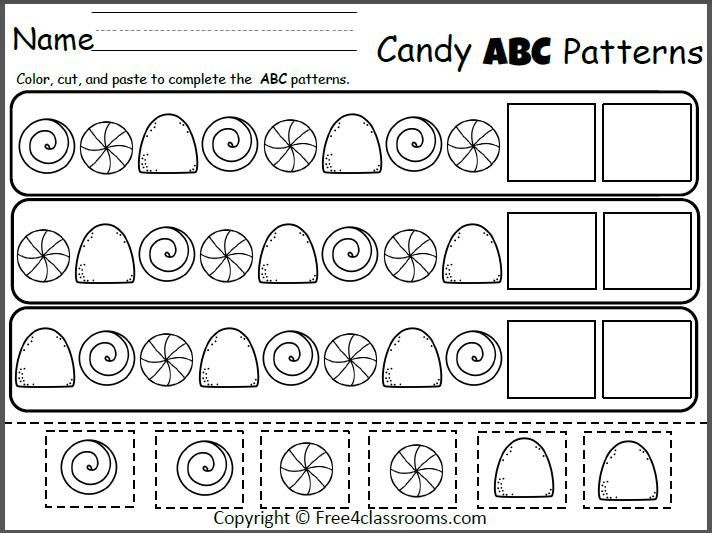 Free Candy ABC Patterns Cut and Paste Teacher Ideas – Abc Pattern Worksheets