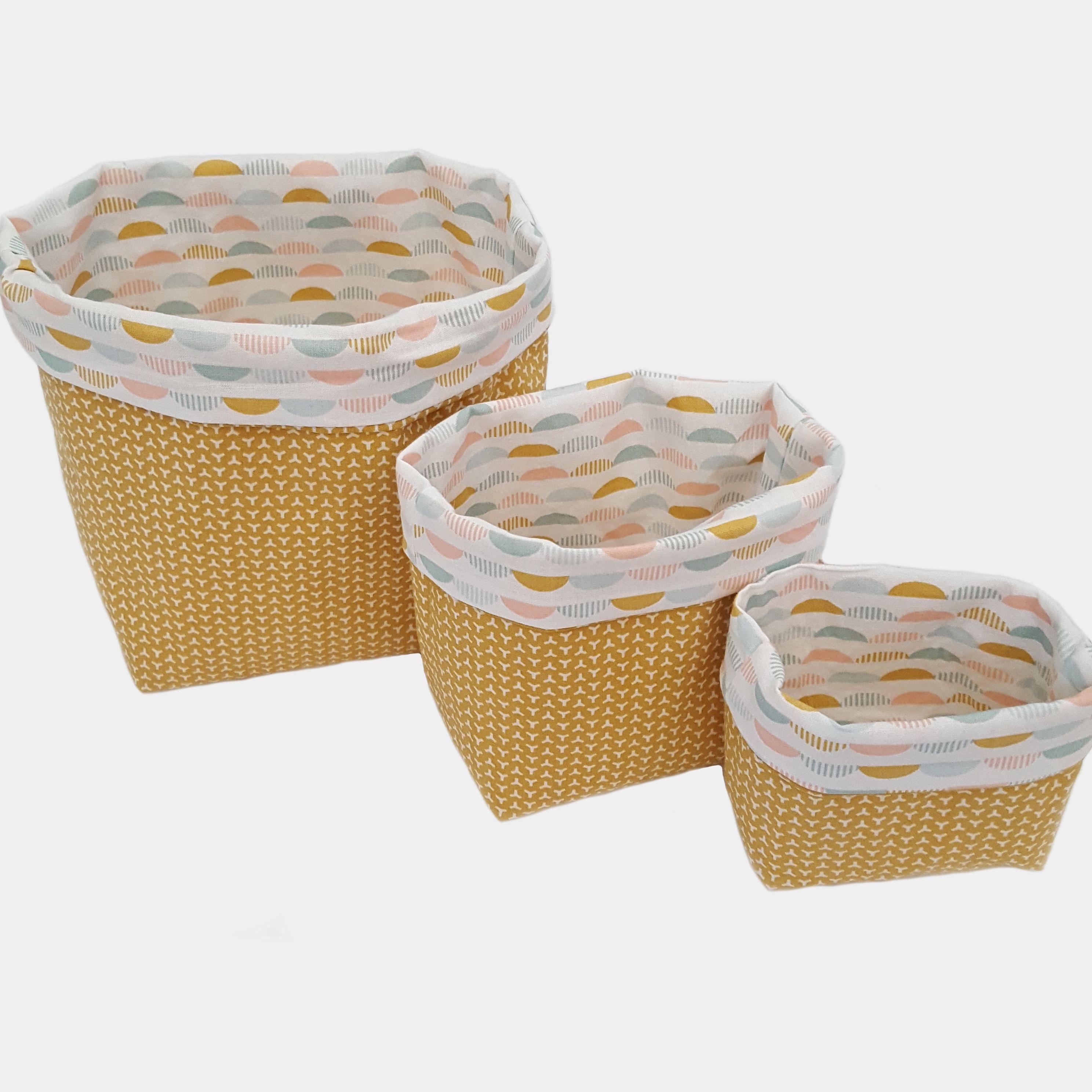 3 Paniers de rangement en tissus jaune et blanc pour salle de bain