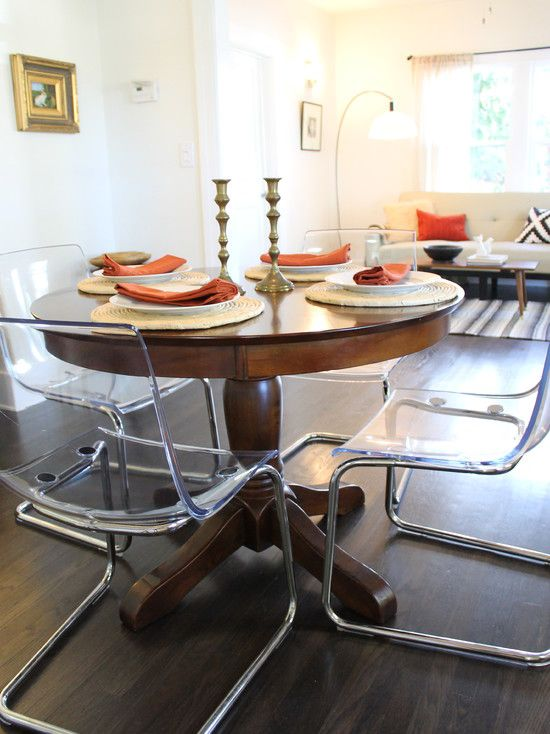 IKEA Chairs With Wood Pedestal.only Iu0027d Paint The Table Charcoal. Clear  Acrylic Dining Chairs Paired With Traditional Pedestal Table   Eclectic    Dining ...